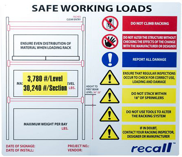 Rack Loading Sign