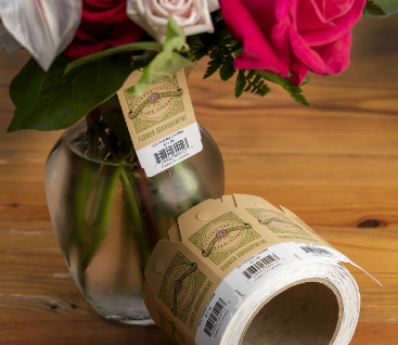 Floral Arrangement with Barcode on Its Tag