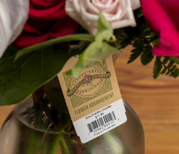 Floral Tag with Barcode Printed on It